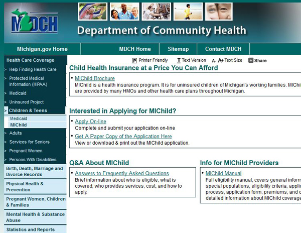 michigan child health insurance program michild Michild reimbursement rate being cut  which is the state of michigan's health care program for uninsured  them to convert to a mutual health insurance.