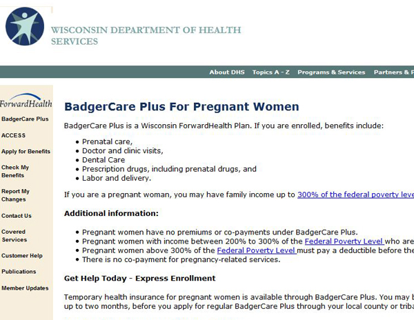 BadgerCare Plus for Pregnant Women
